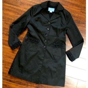 NINE WEST Black Ruffle Trench Coat Jacket